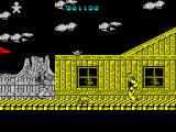 Desperado 2 ZX Spectrum The baddie who could not be shot has just jumped out and shot me in the back. He can only be shot when he jumps out like this. It was the guy on the roof who killed me though