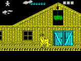 Desperado 2 ZX Spectrum This is as far right as I went, though I'm sure the game goes further. I know someone will try to drop that bale of hay on me as I pass beneath