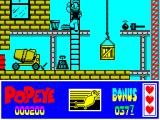 Popeye 2 ZX Spectrum Got one burger, just missed being hit by the falling weight, now on the ground to the left of the ladder. One more burger to get over to the left