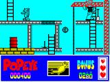 Popeye 2 ZX Spectrum To progress I must jump the gap and climb the ladder on the left. The other character is also artwork and I found it to be of no use or assistance. The grey girder will collapse if walked on.