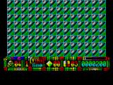 Turrican II: The Final Fight ZX Spectrum The little green thing turned out to be a mine. First life over. When a life is lost the game fills the screen with these tiles and then peels the tiles away to reveal a new 'me' ready to start again