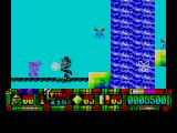 Turrican II: The Final Fight ZX Spectrum Leapt across the waterfall onto another bridge. Lots of flying insect things and little purple men to deal with / avoid