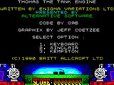 Thomas the Tank Engine & Friends ZX Spectrum Game credits and controller options. A little engine appears and buzzes around the screen while the game waits for a response