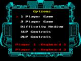 Taito's Super Space Invaders ZX Spectrum Game options. It is possible to have two players using the keyboard and to define keys for both of them