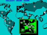 World Championship Soccer ZX Spectrum Using the cursor keys the player moves the arrow to the country they wish to represent. This does get a bit fiddly when choosing the European teams. Here an eastern team has been highlighted
