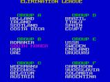 World Championship Soccer ZX Spectrum These are the teams and their groups