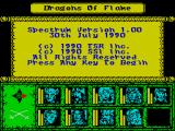 Dragons of Flame ZX Spectrum Version & copyright info.