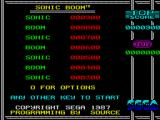 Sonic Boom ZX Spectrum Hi-score screen and game options.
