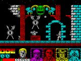 Defenders of the Earth ZX Spectrum A wall to the right I cannot go beyond yet bad guys and tanks come out of it. The green head thing shoots at me too. The door is a portal to the next part of this game