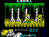 Lorna ZX Spectrum Once past the arrow the type of enemy changes. Gameplay's still the same though.
