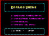 Carlos Sainz ZX Spectrum There's a very brief screen that says 'Ziggurat presenta Carlos Sainz' and then the game loads to this