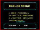 Carlos Sainz ZX Spectrum Option 3 brings up the game control menu.