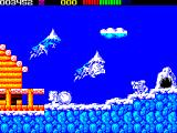Impossamole ZX Spectrum ICELAND level : Monty leaps over an oncoming snow boulder