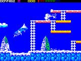 Impossamole ZX Spectrum ICELAND level : Even the birds are dangerous. This flying penguin finished Monty off