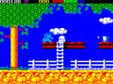 Impossamole ZX Spectrum ORIENT level : The blue thing fires bullets every 2 seconds or so - so its important to time the climb and the jump for the bonus item, the cup of tea, carefully