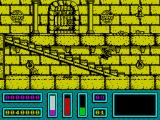 Night Hunter ZX Spectrum Two screens on. There's another hole in the ground here. There are doors, and on the upper level is a key just waiting to be collected