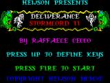 Deliverance: Stormlord II ZX Spectrum Game controls. After pressing 'UP' (9 on the numeric keypad) the player defines the keys to be used for Left, Right, Jump, Duck, and Fire. Restarts return to this screen.