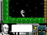 Oberon 69 ZX Spectrum This is the start of the game. The little guy in the space suit is controlled by the player. The big guy in the foreground is window dressing, his speech bubble occasionally fills with a message