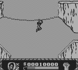 Cliffhanger Game Boy Brachiating along a line someone put there for some reason.