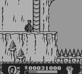 Cliffhanger Game Boy Rocks are falling down continuously in this stage.