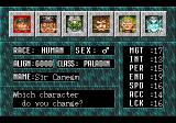 Might and Magic III: Isles of Terra TurboGrafx CD Choosing/modifying characters