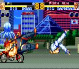 Fatal Fury 2 TurboGrafx CD ...surprisingly, it is! Kim here throws Big Bear at the bike!..