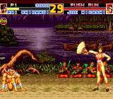 Fatal Fury Special TurboGrafx CD Mai is doing her victory pose. Buddhist monks are watching respectfully