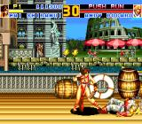 Fatal Fury Special TurboGrafx CD Mai defeats Andy in Italy, and those cute chicken are watching