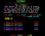 Hunchback BBC Micro Instructions and High score page.
