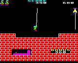 Hunchback BBC Micro Level two. Tricky one this. Excellent timing is needed to catch the rope and jump off again.