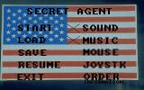Secret Agent: The Escape DOS Game menu. The options selected, Sound & music, are marked with an 'X'
