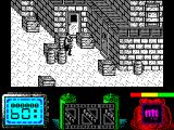Vendetta ZX Spectrum Start of game. Lots of bad guys walk in from the right. The blue number 60 is the number of bad guys left alive. The red panel on the right is the current weapon, fists