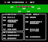 Tecmo Super Bowl NES Offensive team