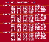 Tecmo Super Bowl NES Schedule