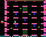 Jet Power Jack BBC Micro Level one: The Fuel is on the right, the space ship waiting to be fueled is on the left.