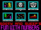 Sooty's Fun With Numbers ZX Spectrum The game menu. There are six mini games in this package