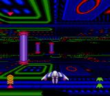 The Lawnmower Man SNES The Cyberrun sequence. Meter on the right shows your health, and the meter on the left shows the distance travelled.