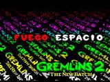Gremlins 2: The New Batch ZX Spectrum Action key redefinition displays one key at a a time. The keys are Fuego(fire), Salto(jump), Abajo(down), Izo(left), Der(right), and Pausa