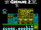Gremlins 2: The New Batch ZX Spectrum Not very far in and Gremlins on pogo sticks drop from the ceiling behind the character