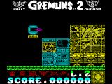 Gremlins 2: The New Batch ZX Spectrum Contact with a gremlin costs a life - the falling ones on pogo sticks have taken two already. Here the character is positioned to stand and shoot them as they land