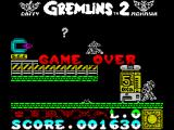Gremlins 2: The New Batch ZX Spectrum The 'Game Over' screen
