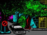 Hostage: Rescue Mission ZX Spectrum A short animation showing hooded guys leaving a car. This is followed by a scrolling message outlining the game plot 'An embassy has been overrun by terrorists  ....