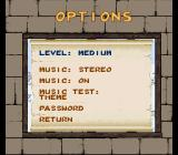 Tintin in Tibet SNES Options menu.