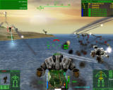 MechWarrior 4: Mercenaries Windows Beach fight: The flak to my right is actually a LAMS defense system shooting missiles out of the sky.