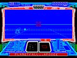 Starglider 2 ZX Spectrum The line ahead is a boundary, the game takes place over a blue/white grid. Below and to the left is what seems to be an operational, hostile, active gun turret