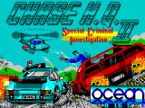 Chase H.Q. II: Special Criminal Investigation ZX Spectrum Load screen. A counter indicates how long the load will take to complete. It is quite a long load