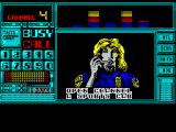 Chase H.Q. II: Special Criminal Investigation ZX Spectrum There's a scrolling message 'Open Channel A sports car with one of the missing girls aboard is fleeing toward the suburbs. Get Moving. Over'