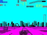 Chase H.Q. II: Special Criminal Investigation ZX Spectrum The central reservation has seats on it. I just ran over some without taking damage. The vertical bar on the right shows the distance between the chase car and the bad guys.