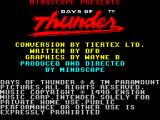 Days of Thunder ZX Spectrum The Credits screen