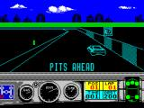 Days of Thunder ZX Spectrum Pits ahead - though the exit ramp is not obvious. They're not needed anyway as the car's in tip-top condition as shown by the lower right schematic